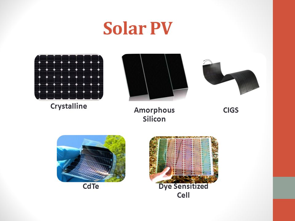 Solar PV Dye Sensitized Cell Amorphous Silicon CIGS CdTe Crystalline