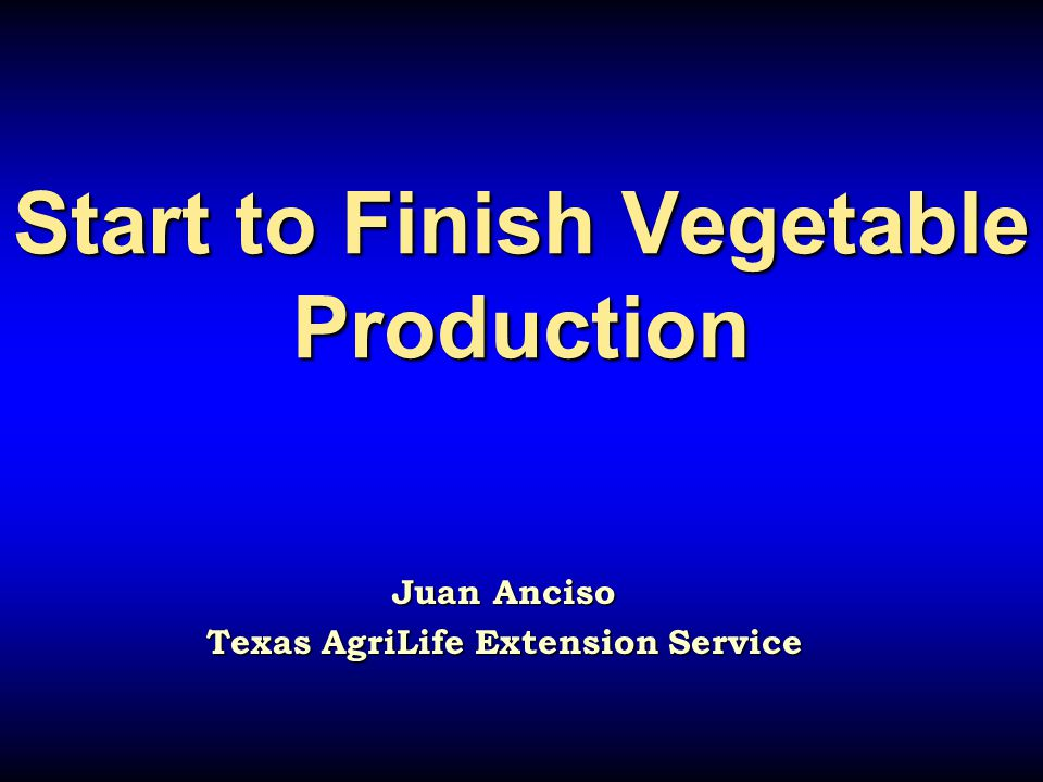Start to Finish Vegetable Production Start to Finish Vegetable Production Juan Anciso Texas AgriLife Extension Service
