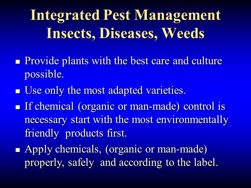 Integrated Pest Management Insects, Diseases, Weeds Provide plants with the best care and culture possible.