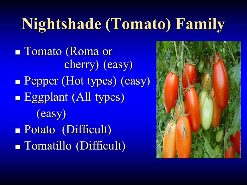 Nightshade (Tomato) Family Tomato (Roma or cherry) (easy) Tomato (Roma or cherry) (easy) Pepper (Hot types) (easy) Pepper (Hot types) (easy) Eggplant (All types) Eggplant (All types) (easy) (easy) Potato (Difficult) Potato (Difficult) Tomatillo (Difficult) Tomatillo (Difficult)