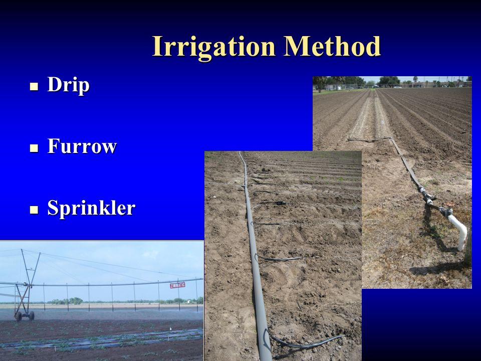 Irrigation Method Irrigation Method Drip Drip Furrow Furrow Sprinkler Sprinkler