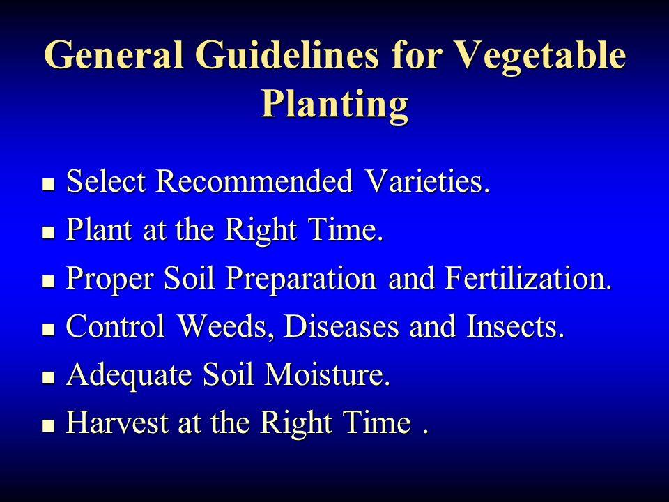 General Guidelines for Vegetable Planting Select Recommended Varieties. Select Recommended Varieties. Plant at the Right Time. Plant at the Right Time
