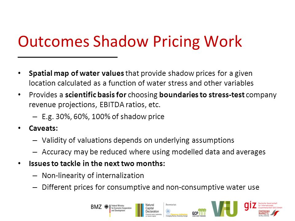 Spatial map of water values that provide shadow prices for a given location calculated as a function of water stress and other variables Provides a scientific basis for choosing boundaries to stress-test company revenue projections, EBITDA ratios, etc.