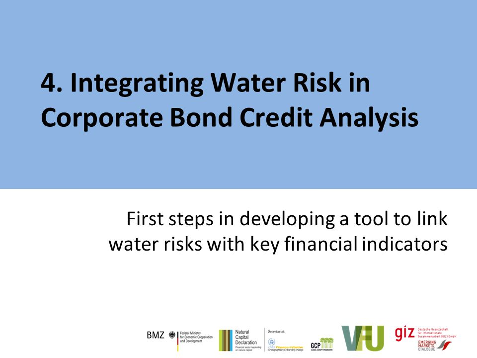 4. Integrating Water Risk in Corporate Bond Credit Analysis First steps in developing a tool to link water risks with key financial indicators
