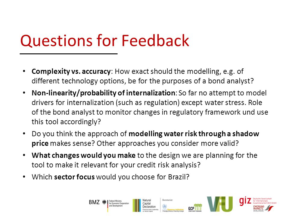 Questions for Feedback Complexity vs. accuracy: How exact should the modelling, e.g.