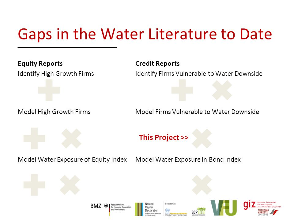 Equity Reports Credit Reports Identify High Growth FirmsIdentify Firms Vulnerable to Water Downside Model High Growth Firms Model Firms Vulnerable to Water Downside Model Water Exposure of Equity IndexModel Water Exposure in Bond Index This Project >> Gaps in the Water Literature to Date