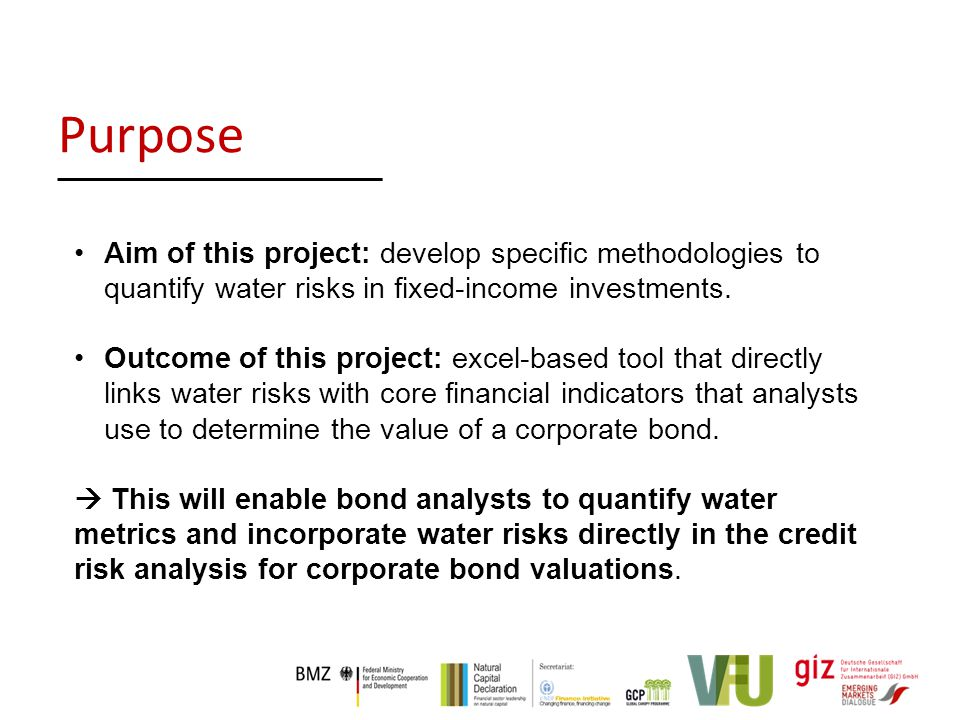 Aim of this project: develop specific methodologies to quantify water risks in fixed-income investments.