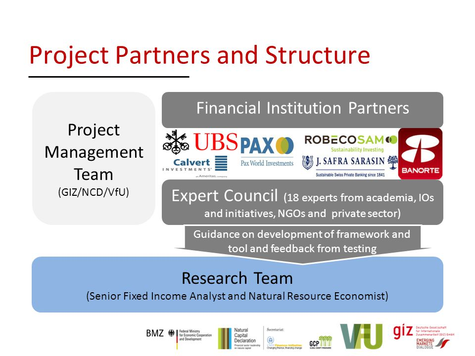 Project Management Team (GIZ/NCD/VfU) Research Team (Senior Fixed Income Analyst and Natural Resource Economist) Expert Council (18 experts from academia, IOs and initiatives, NGOs and private sector) Guidance on development of framework and tool and feedback from testing Financial Institution Partners Project Partners and Structure