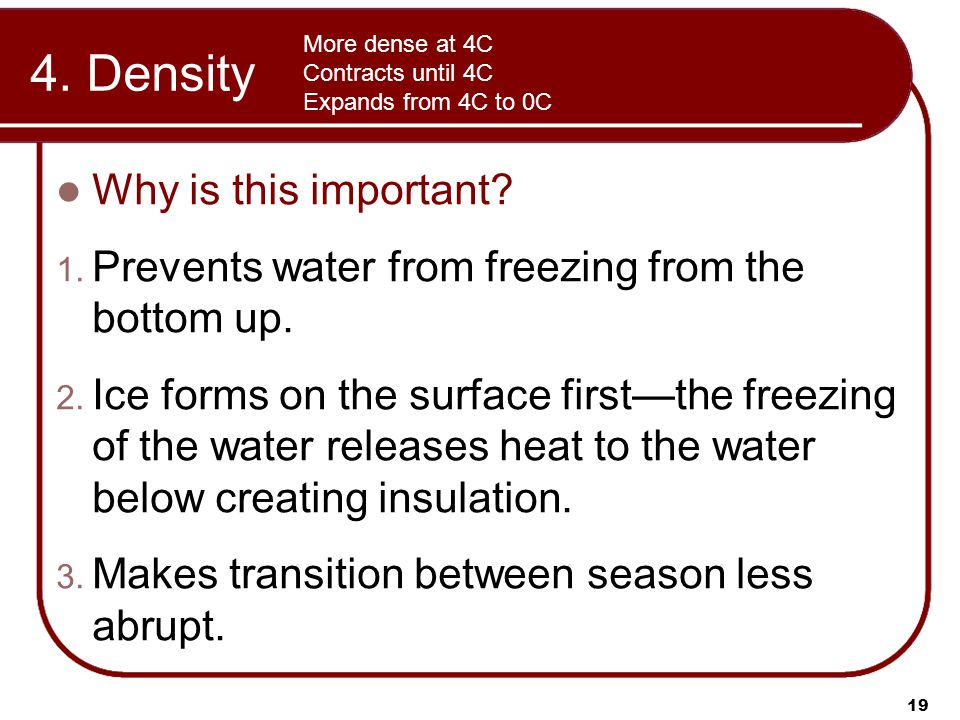 4. Density Why is this important. 1. Prevents water from freezing from the bottom up.