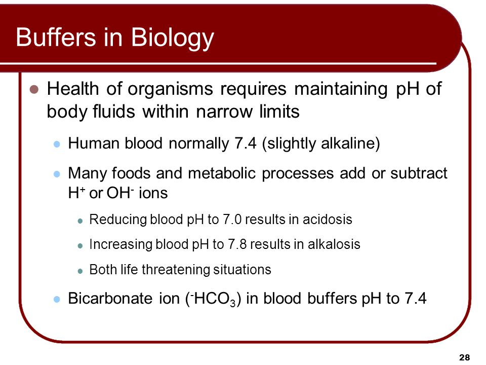 28 Buffers in Biology Health of organisms requires maintaining pH of body fluids within narrow limits Human blood normally 7.4 (slightly alkaline) Many foods and metabolic processes add or subtract H + or OH - ions Reducing blood pH to 7.0 results in acidosis Increasing blood pH to 7.8 results in alkalosis Both life threatening situations Bicarbonate ion ( - HCO 3 ) in blood buffers pH to 7.4