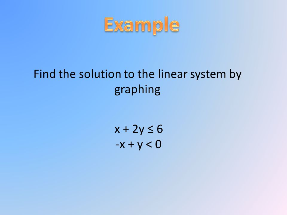 Find the solution to the linear system by graphing x + 2y ≤ 6 -x + y < 0