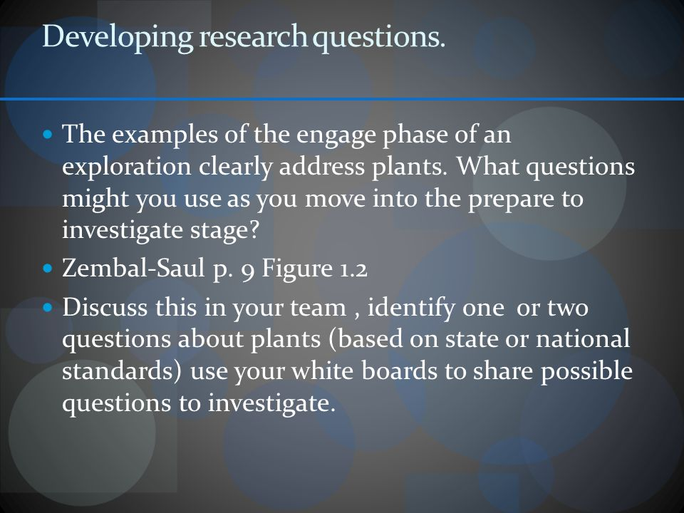Developing research questions.