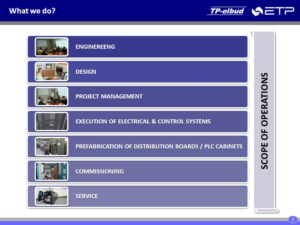 ENGINEREENG DESIGN PROJECT MANAGEMENT EXECUTION OF ELECTRICAL & CONTROL SYSTEMS PREFABRICATION OF DISTRIBUTION BOARDS / PLC CABINETS COMMISSIONING SERVICE What we do.