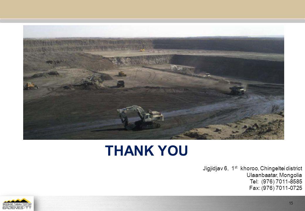 THANK YOU Jigjidjav 6, 1 st khoroo, Chingeltei district Ulaanbaatar, Mongolia Tel: (976) 7011-8585 Fax: (976) 7011-0725 15