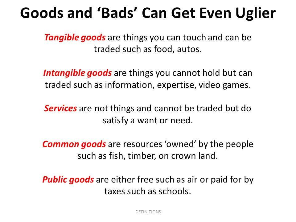 Goods and 'Bads' Can Get Even Uglier Tangible goods are things you can touch and can be traded such as food, autos.