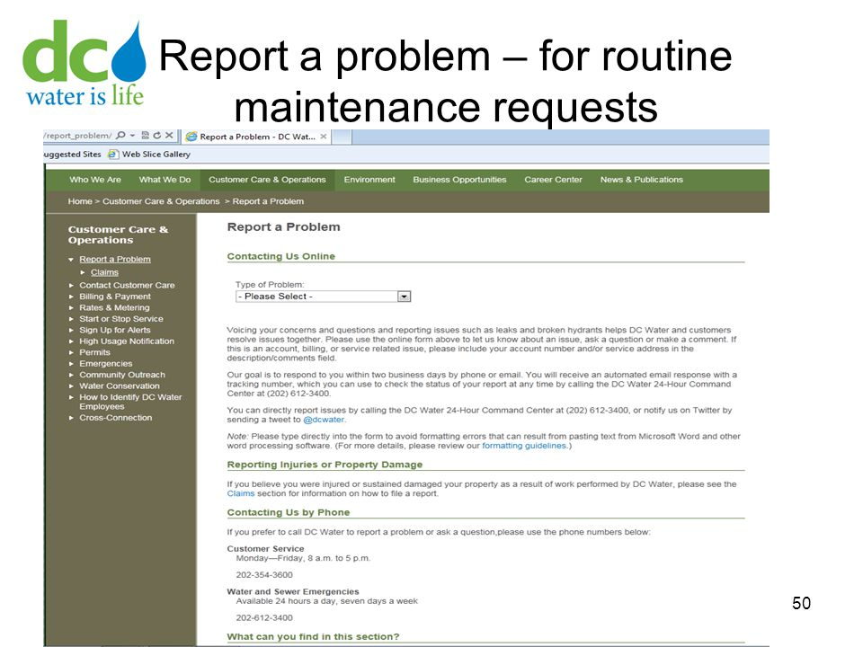 Report a problem – for routine maintenance requests 50