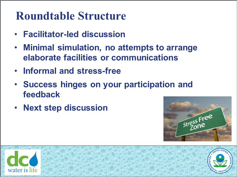 Roundtable Structure Facilitator-led discussion Minimal simulation, no attempts to arrange elaborate facilities or communications Informal and stress-free Success hinges on your participation and feedback Next step discussion