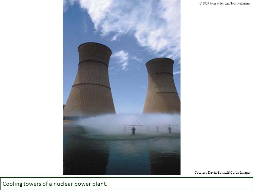 Cooling towers of a nuclear power plant. © 2003 John Wiley and Sons Publishers Courtesy David Bartruff/Corbis Images