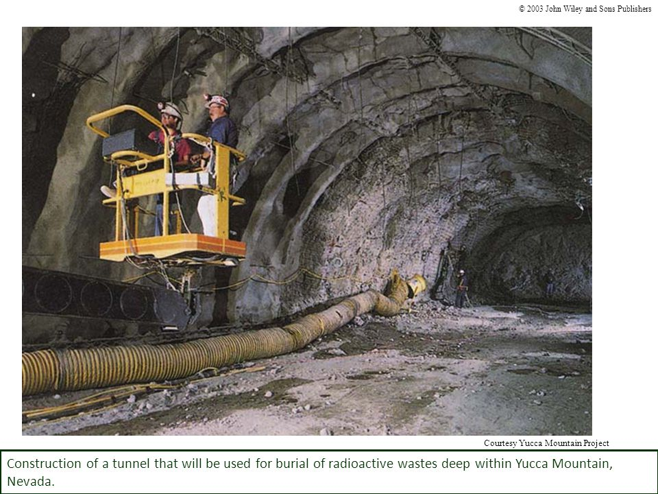 Construction of a tunnel that will be used for burial of radioactive wastes deep within Yucca Mountain, Nevada. © 2003 John Wiley and Sons Publishers