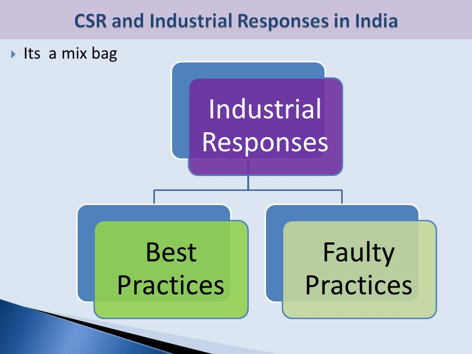  Its a mix bag Industrial Responses Best Practices Faulty Practices