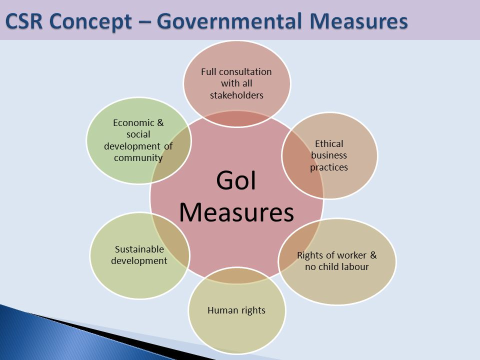 GoI Measures Full consultation with all stakeholders Ethical business practices Rights of worker & no child labour Human rights Sustainable development Economic & social development of community