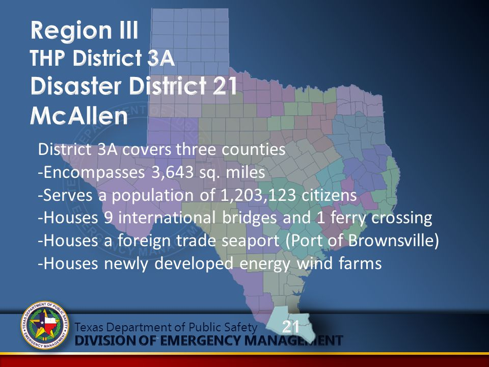 Texas Department of Public Safety District 3A covers three counties -Encompasses 3,643 sq. miles -Serves a population of 1,203,123 citizens -Houses 9