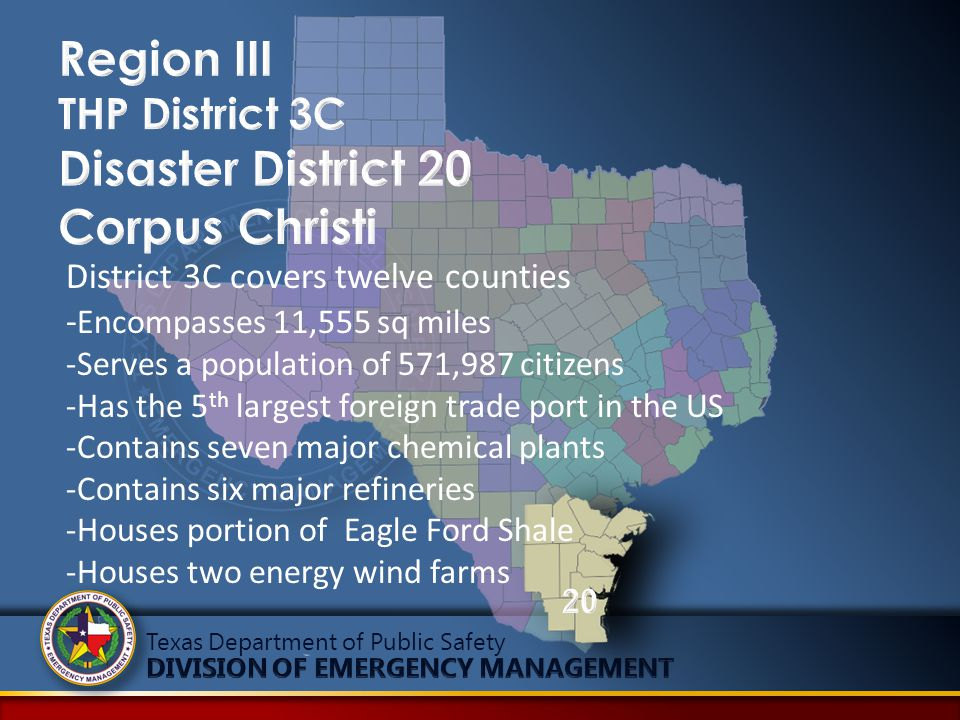 District 3C covers twelve counties - Encompasses 11,555 sq miles -Serves a population of 571,987 citizens -Has the 5 th largest foreign trade port in
