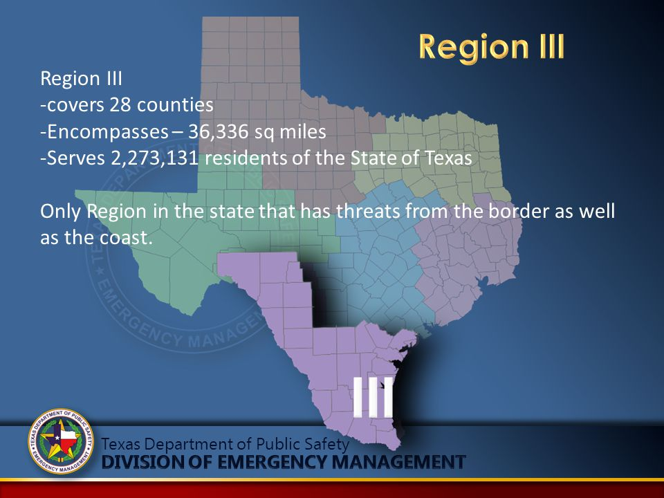 Region III -covers 28 counties -Encompasses – 36,336 sq miles -Serves 2,273,131 residents of the State of Texas Only Region in the state that has thre
