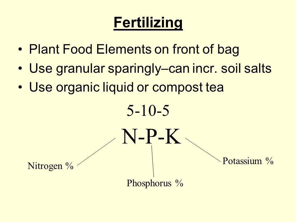Fertilizing Plant Food Elements on front of bag Use granular sparingly–can incr.