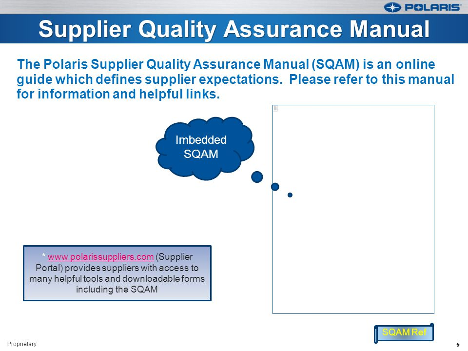 Supplier Quality Assurance Manual The Polaris Supplier Quality Assurance Manual (SQAM) is an online guide which defines supplier expectations.