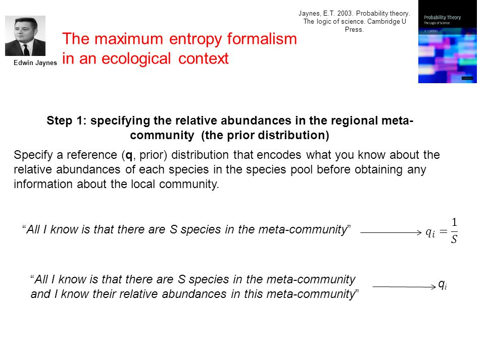 The maximum entropy formalism in an ecological context Edwin Jaynes Jaynes, E.T.