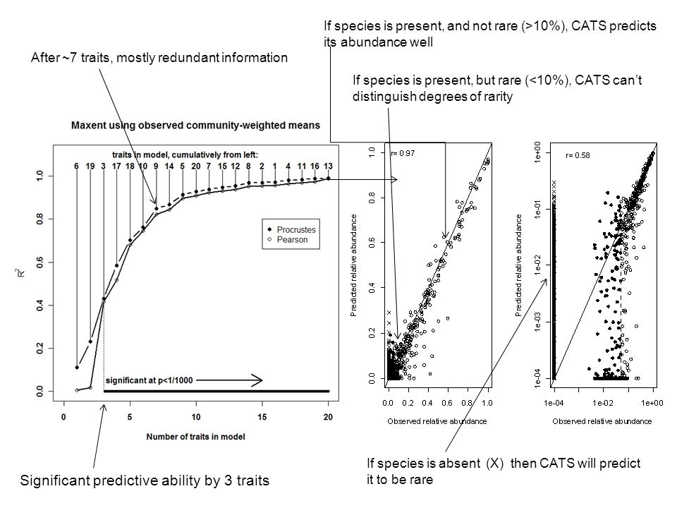 Significant predictive ability by 3 traits After ~7 traits, mostly redundant information If species is present, and not rare (>10%), CATS predicts its abundance well If species is present, but rare (<10%), CATS can't distinguish degrees of rarity If species is absent (X) then CATS will predict it to be rare