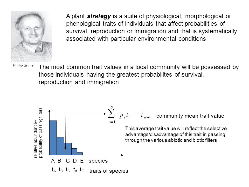 Philip Grime A plant strategy is a suite of physiological, morphological or phenological traits of individuals that affect probabilities of survival, reproduction or immigration and that is systematically associated with particular environmental conditions The most common trait values in a local community will be possessed by those individuals having the greatest probabilites of survival, reproduction and immigration.