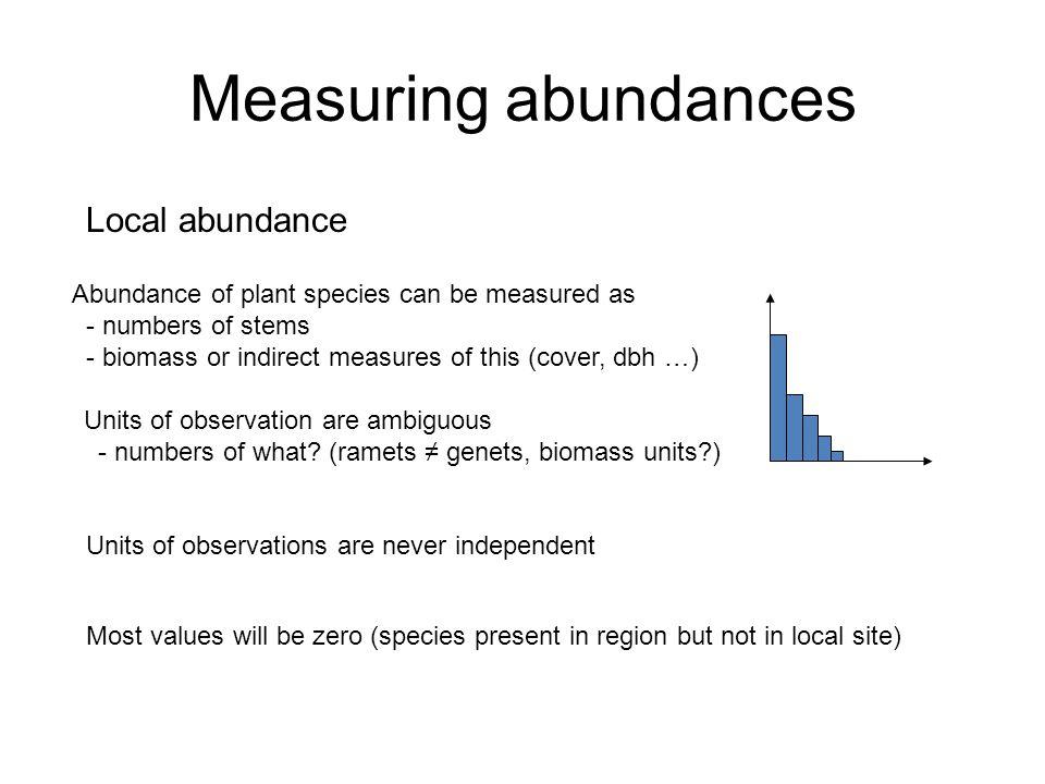Measuring abundances Meta-community abundances Sometimes no information Sometimes vague information (very common, common, rare) Sometimes more quantitative information
