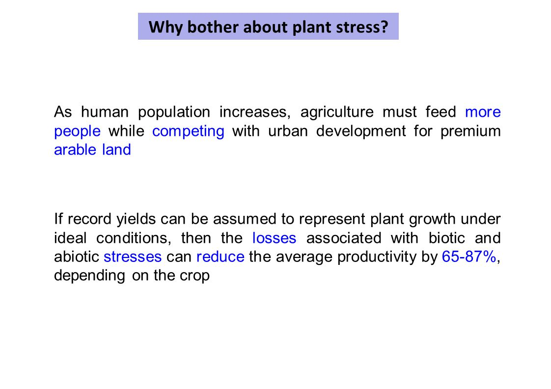 Why bother about plant stress? As human population increases, agriculture must feed more people while competing with urban development for premium ara