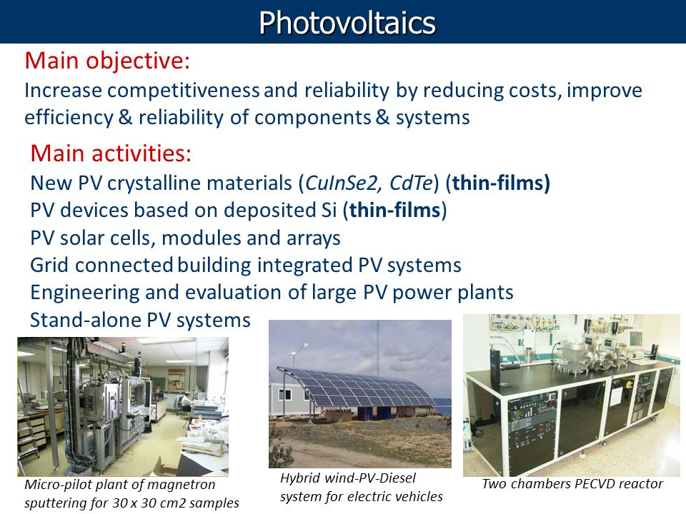 Photovoltaics Main objective: Increase competitiveness and reliability by reducing costs, improve efficiency & reliability of components & systems Mai