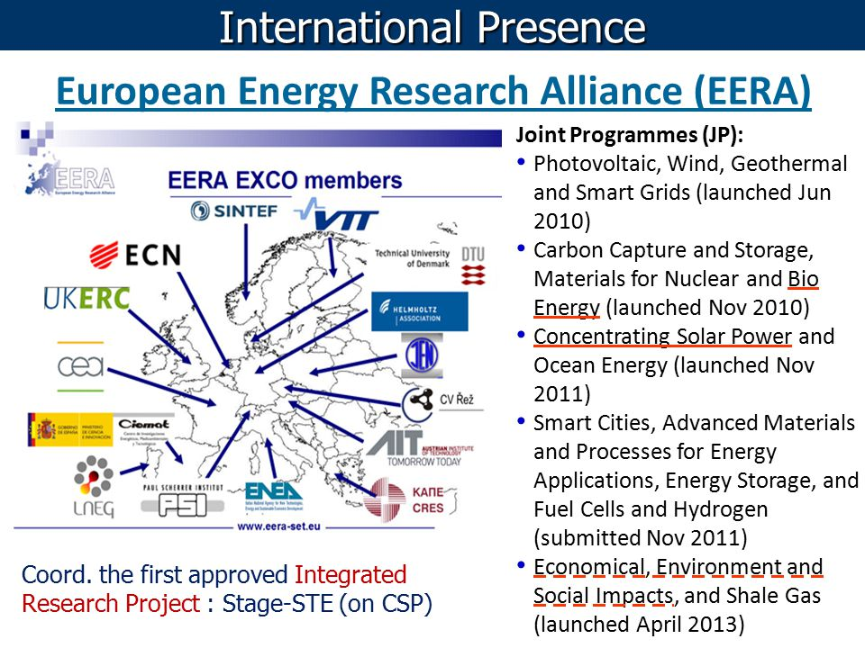 European Energy Research Alliance (EERA) Joint Programmes (JP): Photovoltaic, Wind, Geothermal and Smart Grids (launched Jun 2010) Carbon Capture and