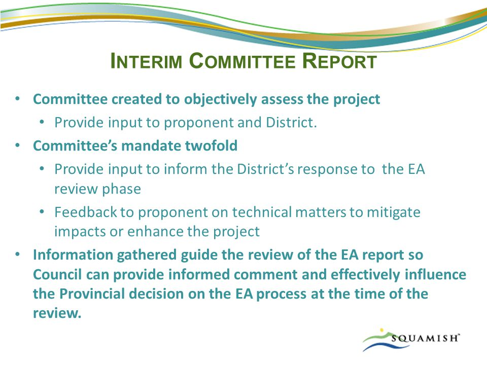 I NTERIM C OMMITTEE R EPORT Committee created to objectively assess the project Provide input to proponent and District.