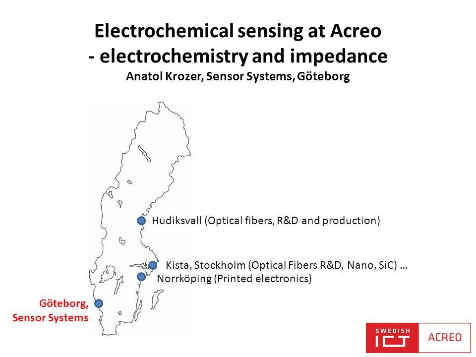 Electrochemical sensing at Acreo - electrochemistry and impedance Anatol Krozer, Sensor Systems, Göteborg Kista, Stockholm (Optical Fibers R&D, Nano,