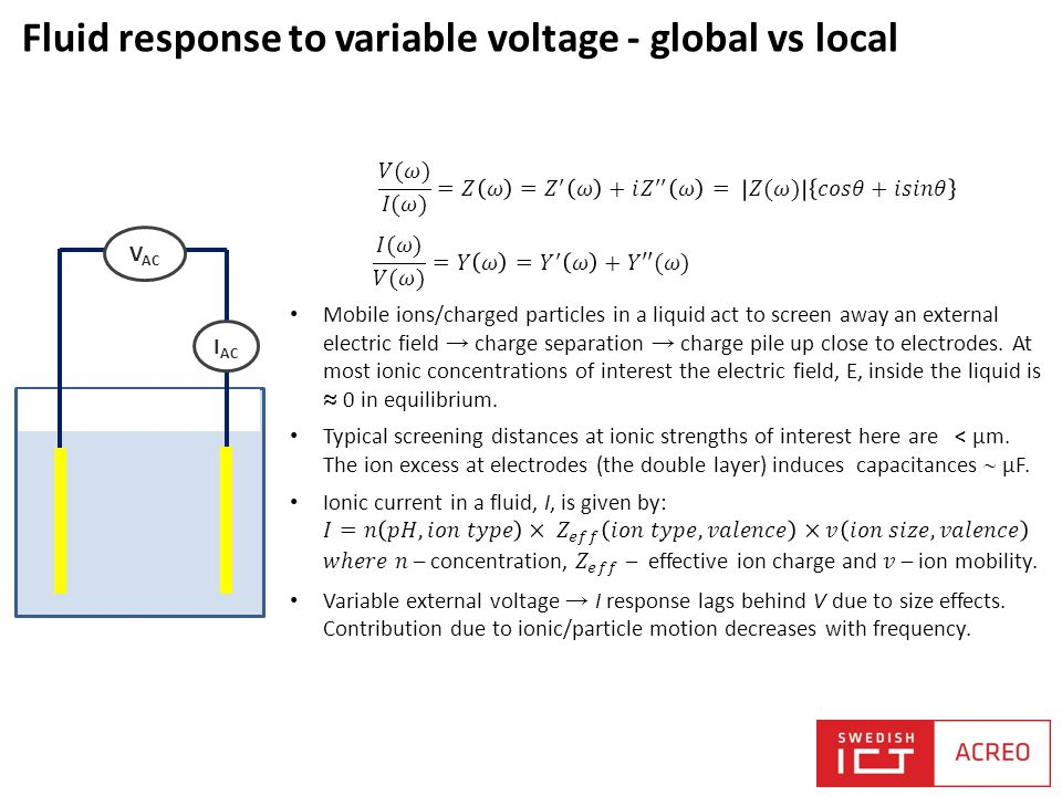 Fluid response to variable voltage - global vs local V AC I AC