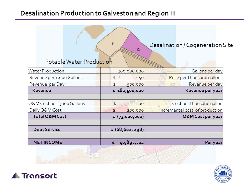 Desalination Production to Galveston and Region H Desalination / Cogeneration Site Water Production 200,000,000Gallons per day Revenue per 1,000 Gallons$ 2.50Price per thousand gallons Revenue per Day $ 500,000Revenue per day Revenue $ 182,500,000Revenue per year O&M Cost per 1,000 Gallons $ 1.00Cost per thousand gallon Daily O&M Cost $ 200,000Incremental cost of production Total O&M Cost $ (73,000,000)O&M Cost per year Debt Service$ (68,602, 298) NET INCOME $ 40,897,702Per year Potable Water Production