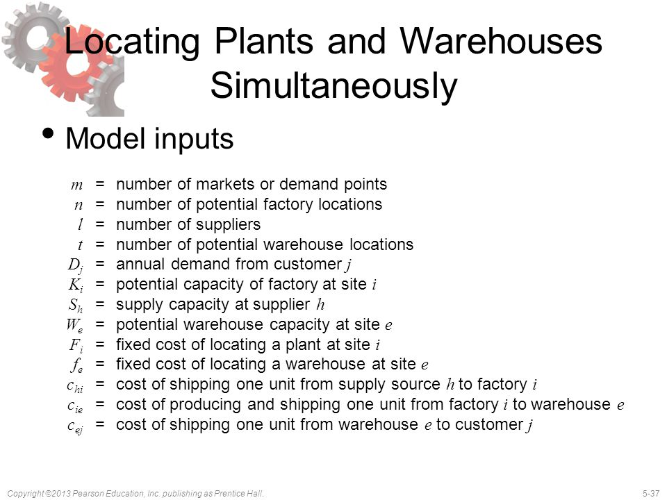 5-37Copyright ©2013 Pearson Education, Inc. publishing as Prentice Hall. Locating Plants and Warehouses Simultaneously Model inputs m =number of marke