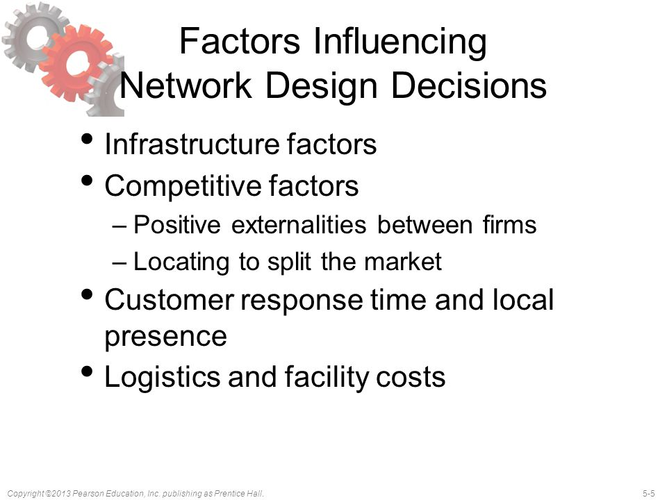 5-5Copyright ©2013 Pearson Education, Inc. publishing as Prentice Hall. Factors Influencing Network Design Decisions Infrastructure factors Competitiv