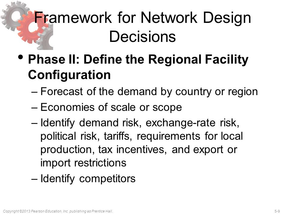 5-9Copyright ©2013 Pearson Education, Inc. publishing as Prentice Hall. Framework for Network Design Decisions Phase II: Define the Regional Facility