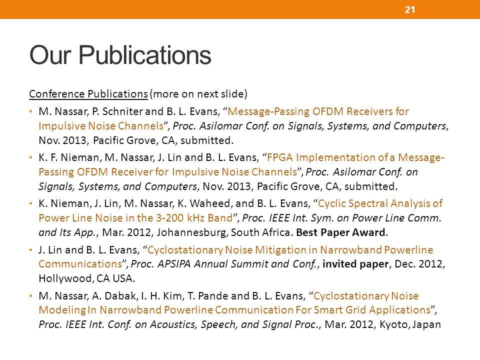 Our Publications Conference Publications (more on next slide) M.