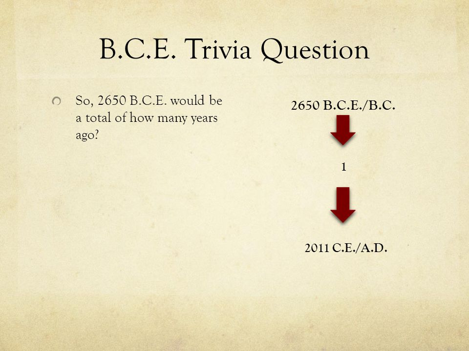 B.C.E. Trivia Question So, 2650 B.C.E. would be a total of how many years ago.