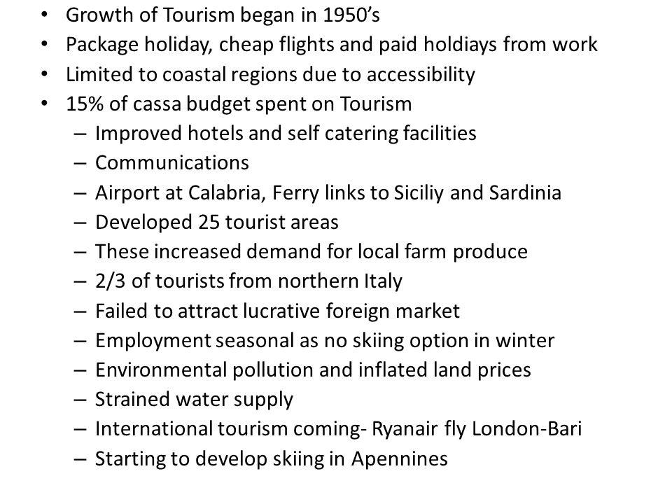 Transport: – 2.5 Million euro of Cassa Autostrada – Ports Taranto,Sicily, Gioia Tauro, 1995 employed 1000 people