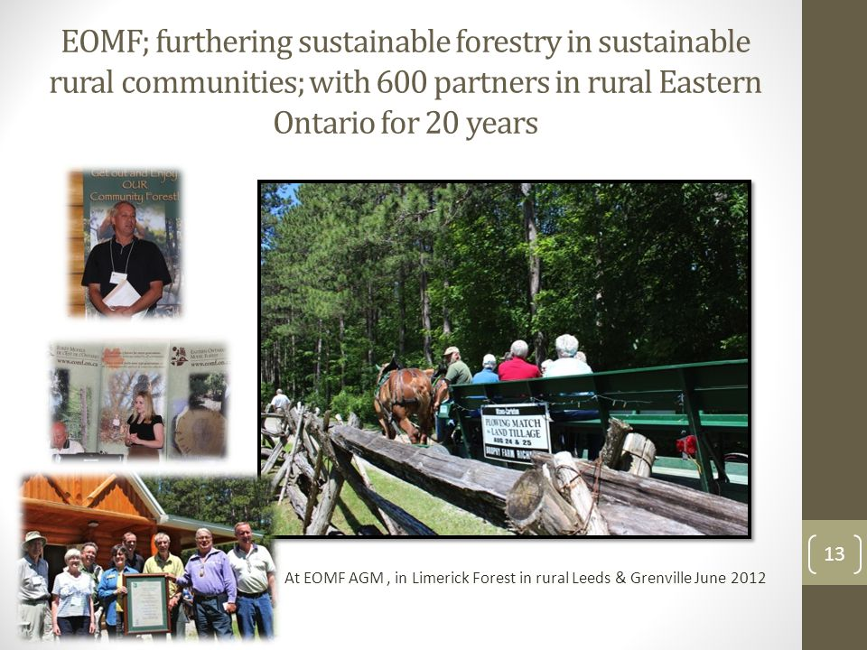 EOMF; furthering sustainable forestry in sustainable rural communities; with 600 partners in rural Eastern Ontario for 20 years 13 At EOMF AGM, in Limerick Forest in rural Leeds & Grenville June 2012