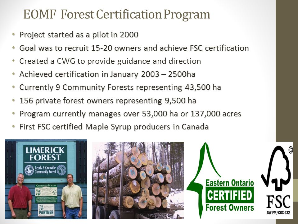 EOMF Forest Certification Program Project started as a pilot in 2000 Project started as a pilot in 2000 Goal was to recruit 15-20 owners and achieve FSC certification Goal was to recruit 15-20 owners and achieve FSC certification Created a CWG to provide guidance and direction Achieved certification in January 2003 – 2500ha Achieved certification in January 2003 – 2500ha Currently 9 Community Forests representing 43,500 ha Currently 9 Community Forests representing 43,500 ha 156 private forest owners representing 9,500 ha 156 private forest owners representing 9,500 ha Program currently manages over 53,000 ha or 137,000 acres Program currently manages over 53,000 ha or 137,000 acres First FSC certified Maple Syrup producers in Canada First FSC certified Maple Syrup producers in Canada