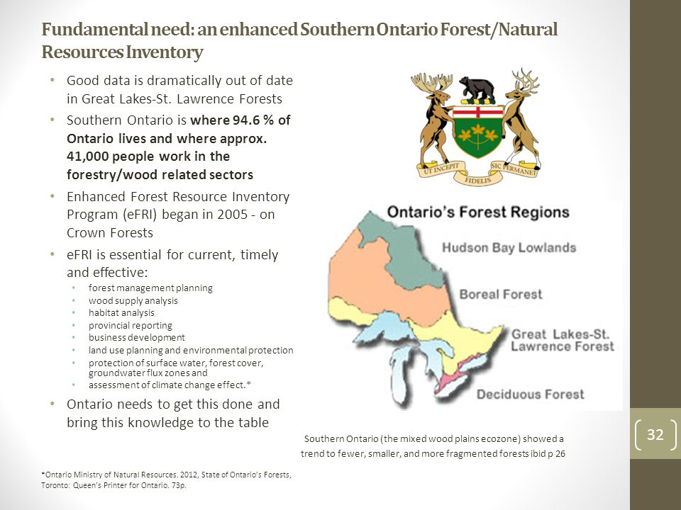 Fundamental need: an enhanced Southern Ontario Forest/Natural Resources Inventory Good data is dramatically out of date in Great Lakes-St. Lawrence Fo
